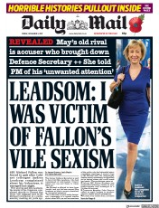 Daily Mail () Newspaper Front Page for 3 November 2017