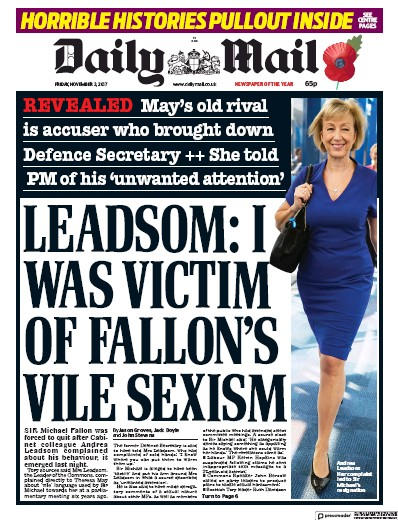 Daily Mail Newspaper Front Page (UK) for 3 November 2017