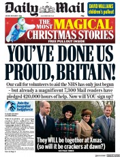 Daily Mail (UK) Newspaper Front Page for 3 December 2018