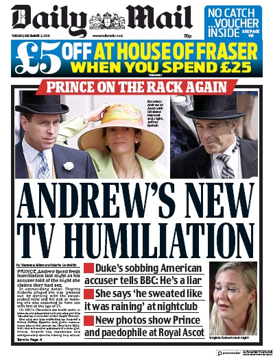 Daily Mail Newspaper Front Page (UK) for 3 December 2019