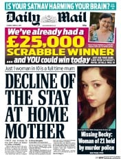 Daily Mail (UK) Newspaper Front Page for 3 March 2015