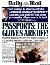 Daily Mail (UK) Newspaper Front Page for 3 April 2018