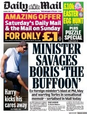 Daily Mail front page for 3 April 2021