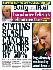 Daily Mail Newspaper Front Page (UK) for 3 June 2015