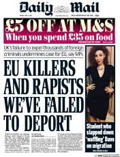 Daily Mail () Newspaper Front Page for 3 June 2016