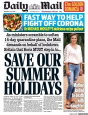 Daily Mail front page for 3 June 2020