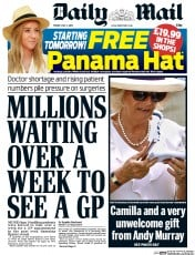 Daily Mail (UK) Newspaper Front Page for 3 July 2015