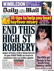 Daily Mail (UK) Newspaper Front Page for 3 July 2018