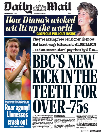 Daily Mail Newspaper Front Page (UK) for 3 July 2019