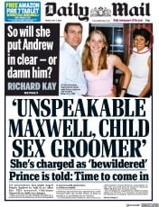 Daily Mail front page for 3 July 2020