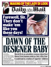 Daily Mail (UK) Newspaper Front Page for 3 August 2017