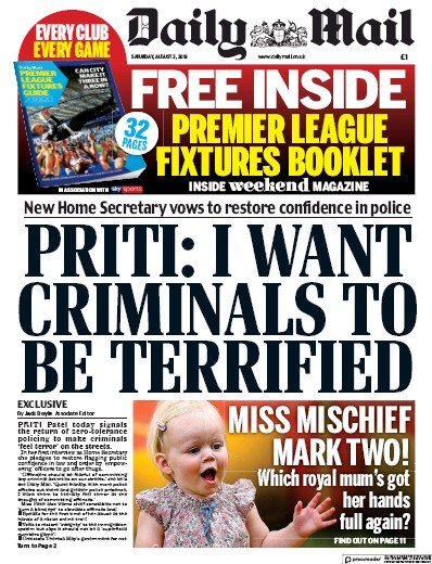 Daily Mail Newspaper Front Page (UK) for 3 August 2019