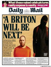 Daily Mail (UK) Newspaper Front Page for 3 September 2014