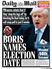Daily Mail (UK) Newspaper Front Page for 3 September 2019