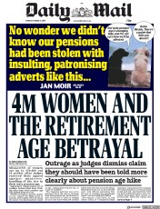 Daily Mail (UK) Newspaper Front Page for 4 October 2019