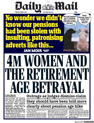 Daily Mail Newspaper Front Page (UK) for 4 October 2019