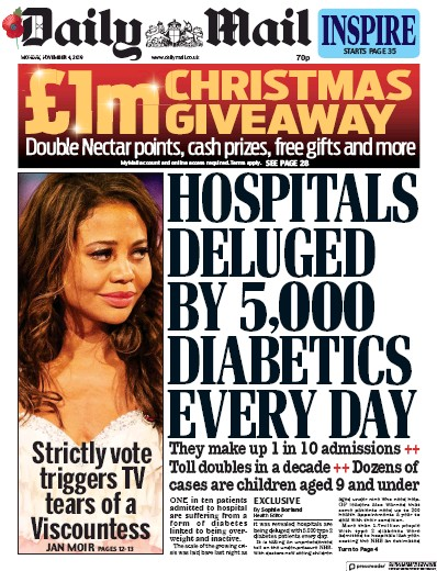 Daily Mail Newspaper Front Page (UK) for 4 November 2019