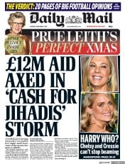 Daily Mail (UK) Newspaper Front Page for 4 December 2017