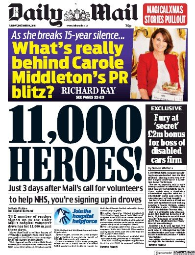 Daily Mail Newspaper Front Page (UK) for 4 December 2018