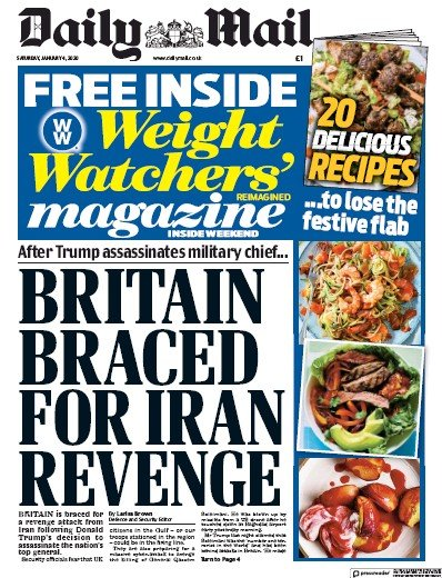 Daily Mail Newspaper Front Page (UK) for 4 January 2020