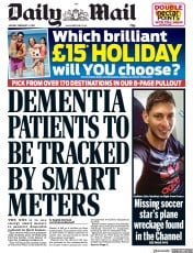Daily Mail () Newspaper Front Page for 4 February 2019