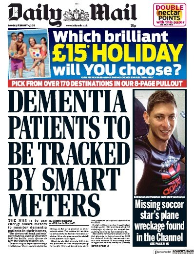 Daily Mail Newspaper Front Page (UK) for 4 February 2019