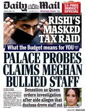Daily Mail front page for 4 March 2021