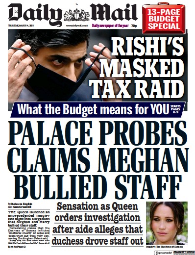 Daily Mail Newspaper Front Page (UK) for 4 March 2021