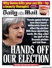 Daily Mail (UK) Newspaper Front Page for 4 May 2017