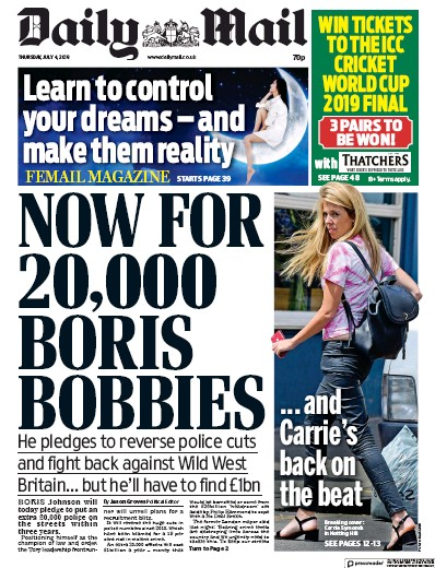 Daily Mail Newspaper Front Page (UK) for 4 July 2019