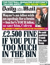Daily Mail (UK) Newspaper Front Page for 4 September 2017