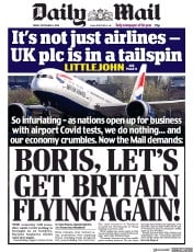 Daily Mail front page for 4 September 2020