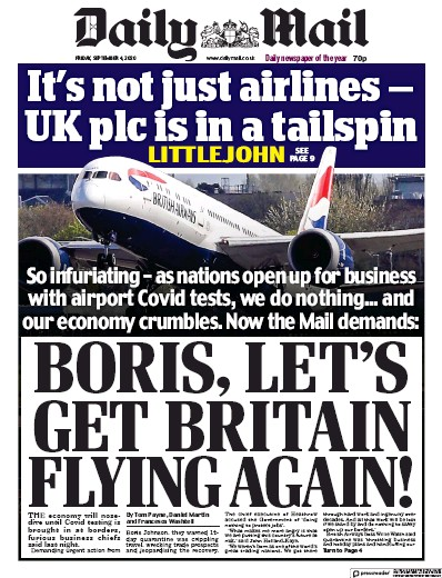 Daily Mail Newspaper Front Page (UK) for 4 September 2020