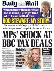 Daily Mail Newspaper Front Page (UK) for 5 October 2012