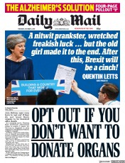 Daily Mail (UK) Newspaper Front Page for 5 October 2017