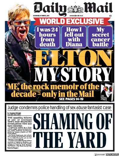 Daily Mail Newspaper Front Page (UK) for 5 October 2019