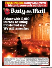 Daily Mail (UK) Newspaper Front Page for 5 November 2018