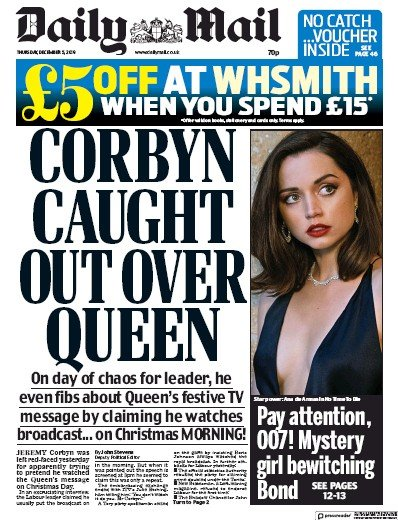 Daily Mail Newspaper Front Page (UK) for 5 December 2019