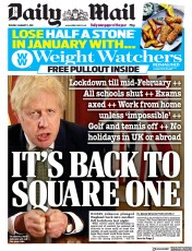 Daily Mail (UK) Newspaper Front Page for 5 January 2021