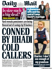 Daily Mail (UK) Newspaper Front Page for 5 March 2015