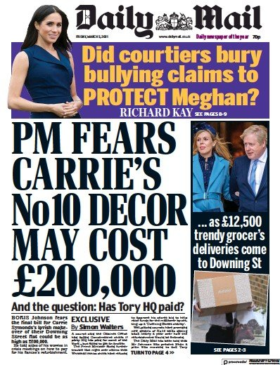 Daily Mail Newspaper Front Page (UK) for 5 March 2021