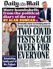 Daily Mail () Newspaper Front Page for 5 April 2021