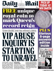 Daily Mail (UK) Newspaper Front Page for 5 September 2015