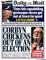 Daily Mail (UK) Newspaper Front Page for 5 September 2019