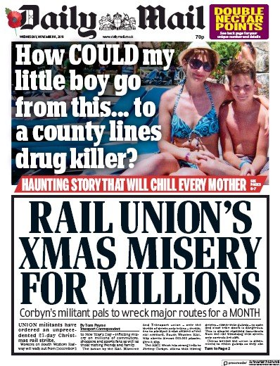 Daily Mail Newspaper Front Page (UK) for 6 November 2019