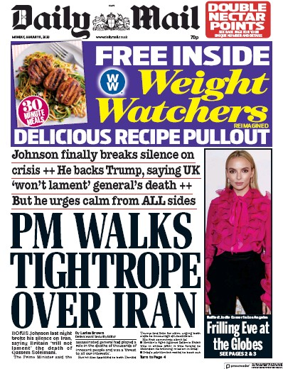 Daily Mail Newspaper Front Page (UK) for 6 January 2020