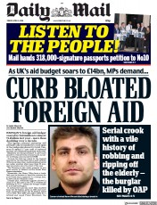 Daily Mail (UK) Newspaper Front Page for 6 April 2018