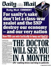 Daily Mail (UK) Newspaper Front Page for 6 May 2015
