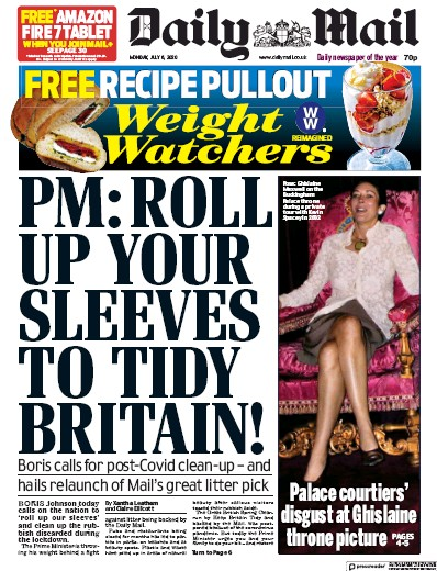 Daily Mail Newspaper Front Page (UK) for 6 July 2020
