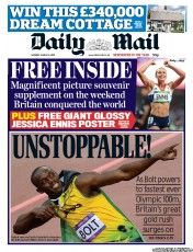 Daily Mail Newspaper Front Page (UK) for 6 August 2012